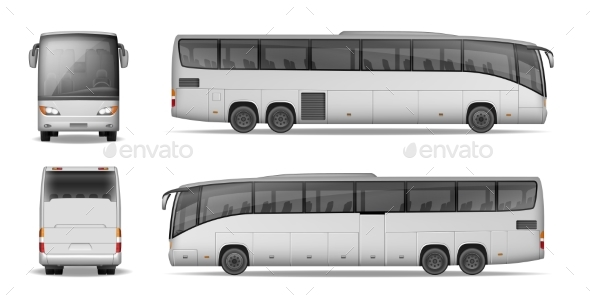 Coach Bus Isolated on White Background - Man-made Objects Objects