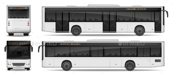 Realistic City Bus Template Isolated on White - Miscellaneous Vectors