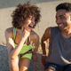 Young happy fitness couple in sportswear talking - PhotoDune Item for Sale