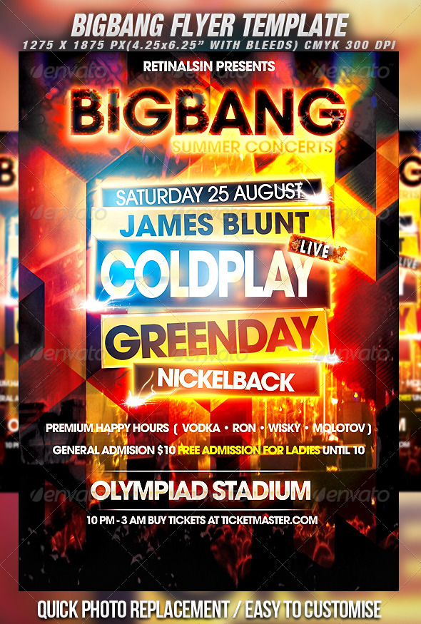 BigBang Flyer Template by Mexelina | GraphicRiver