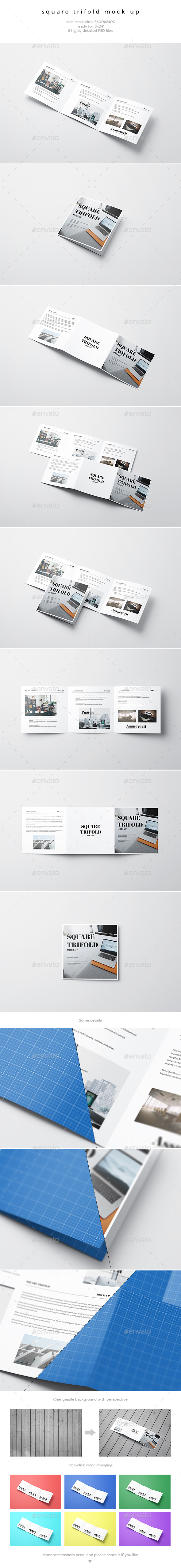 Square Trifold Mock-Up - Brochures Print