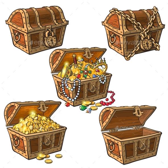 Set of Hand Drawn Pirate Treasure Chests - Miscellaneous Vectors