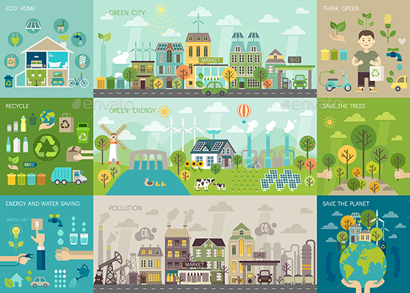 Green City Infographic Set - Buildings Objects