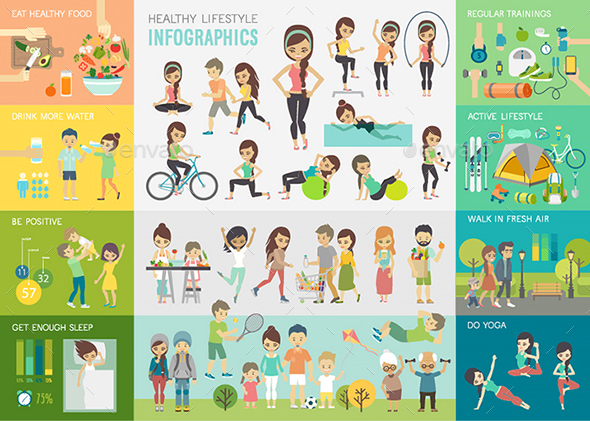 Healthy Lifestyle Infographic - People Characters