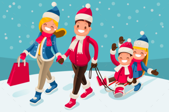 Happy Family in Winter Holidays Isometric People - People Characters