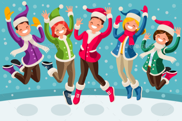 Winter Vector Cartoon Family Jumping - People Characters