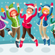 Winter Vector Cartoon Family Jumping