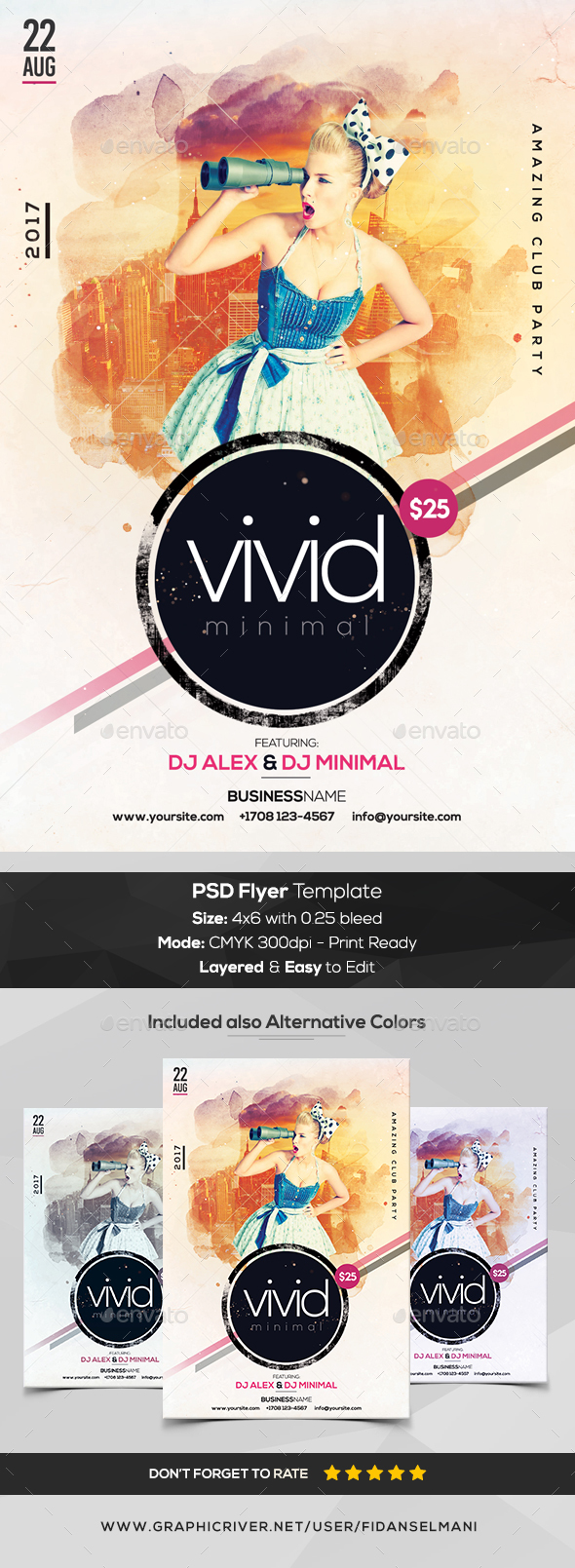 GraphicRiver Vivid Minimal PSD Flyer Template 20406969