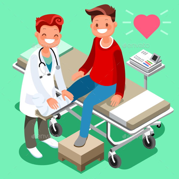 Male Doctor and Man Patient Isometric Cartoon - Health/Medicine Conceptual