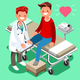 Male Doctor and Man Patient Isometric Cartoon