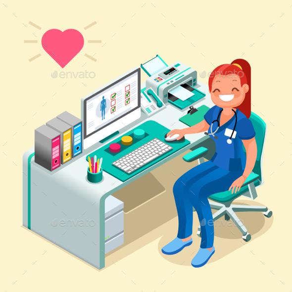 Nurse or Female Doctor Cartoon Isometric People - Health/Medicine Conceptual