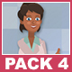 Black Female Doctor And Black Male Patient Cartoon Characters Pack 4 - VideoHive Item for Sale