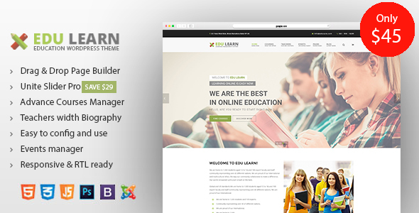 Image of EduLearn - Education, School & Courses Joomla Template