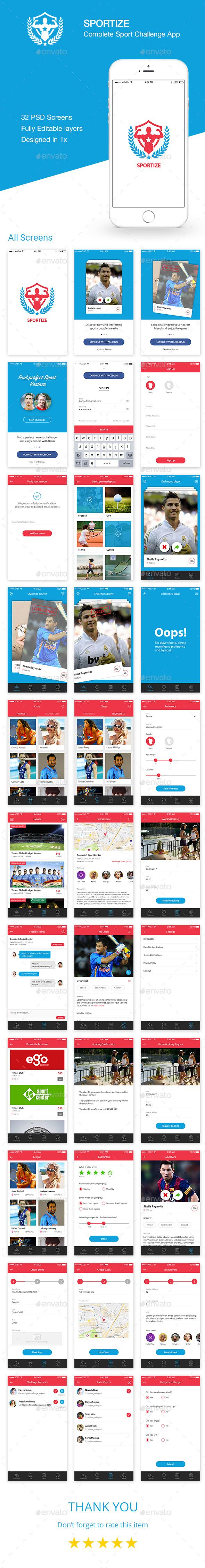 Sportize App UI Kit - User Interfaces Web Elements
