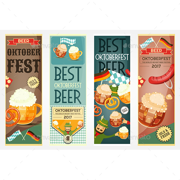Oktoberfest Beer Festival Banners Set - Food Objects
