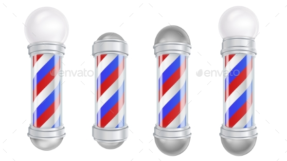 Barber Shop Pole Vector - Man-made Objects Objects