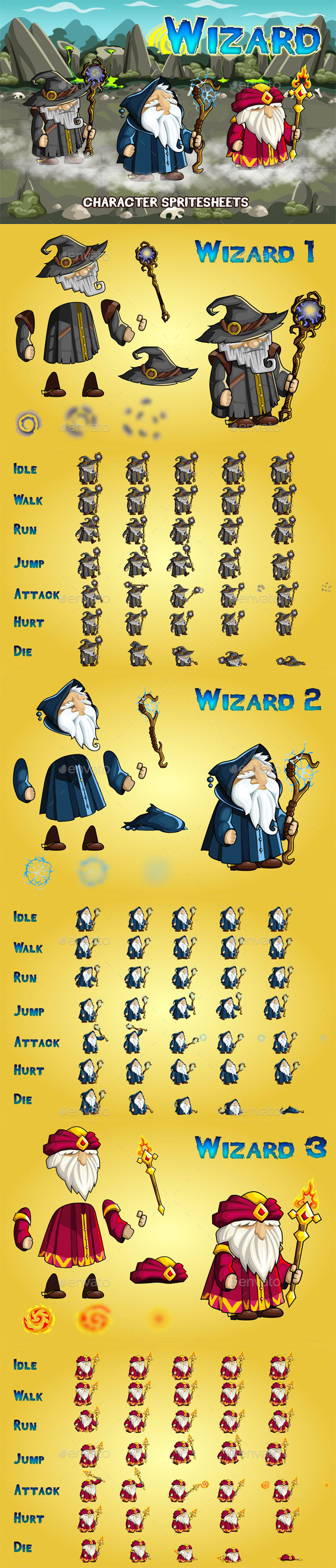 Wizards 2D Game Character Sprite Sheet - Sprites Game Assets