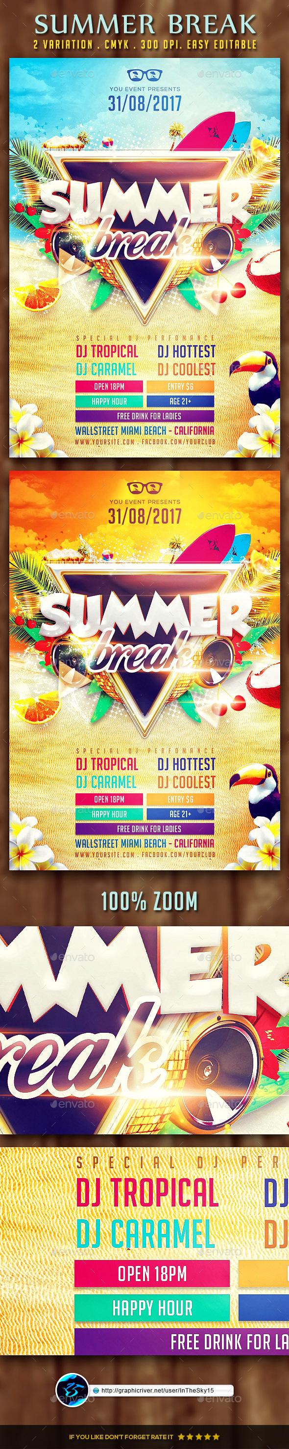 Summer Break Flyer Template - Flyers Print Templates