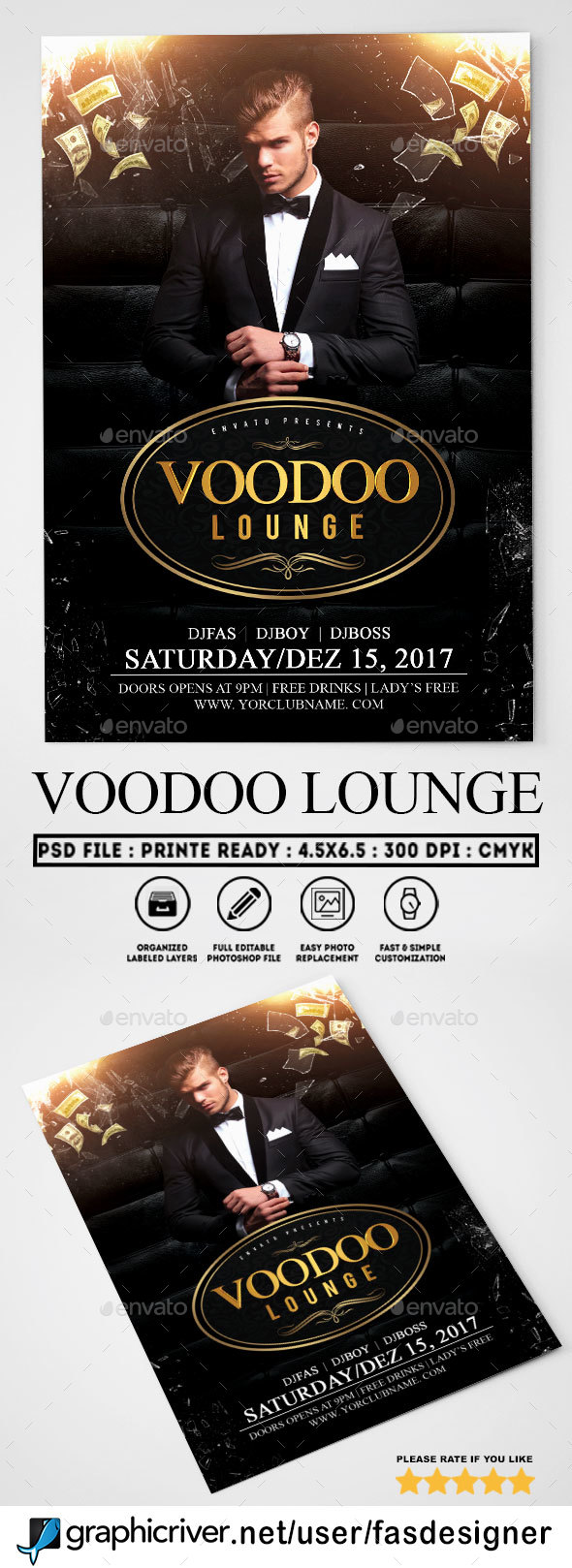 Voodoo Lounge Flyer Template - Clubs & Parties Events
