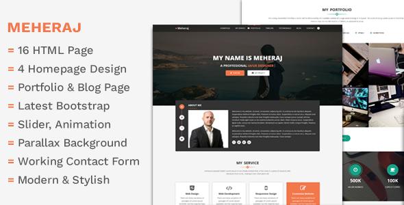 Meheraj - Creative Personal Portfolio &  Resume Template