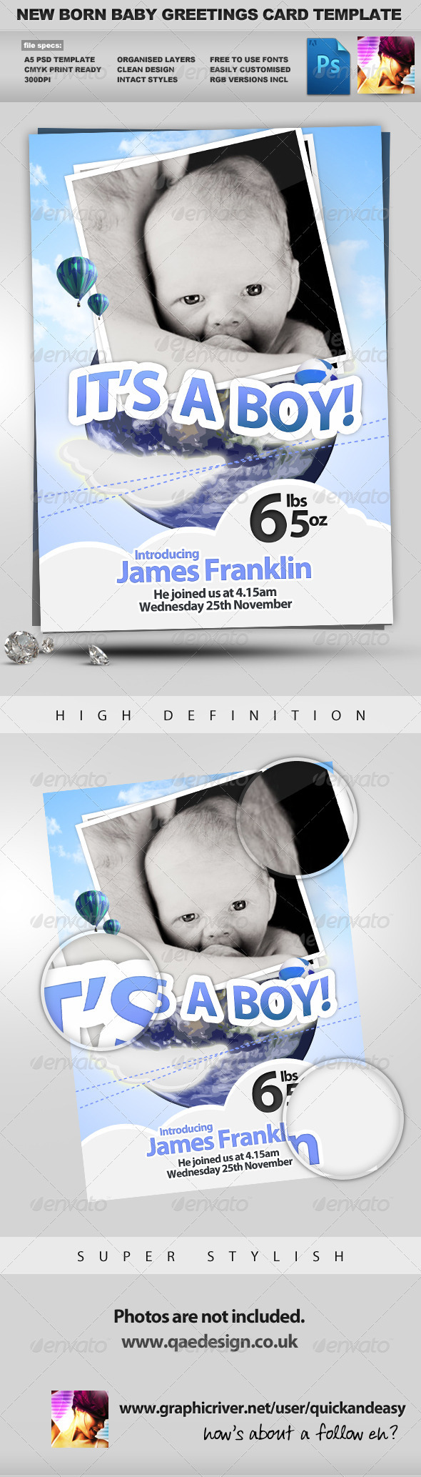 New Born Baby Greeting Card - Family Cards & Invites