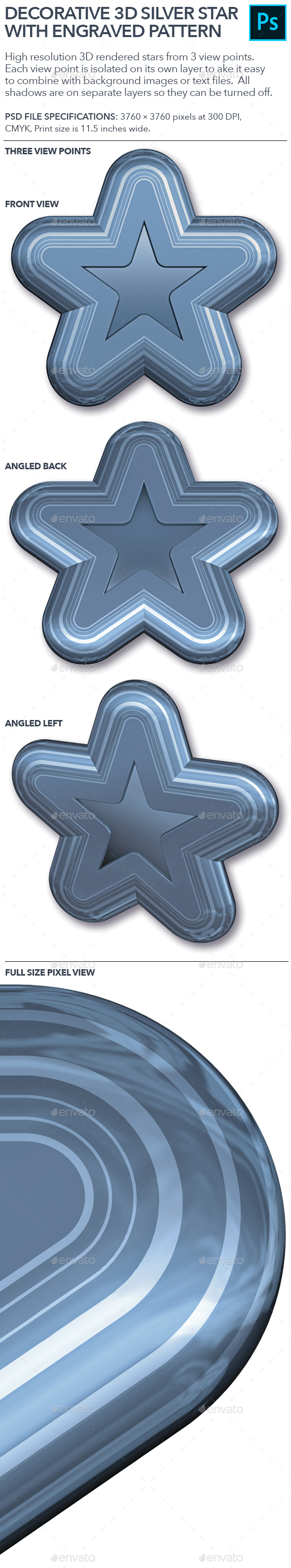 Decorative Silver Star.PSD
