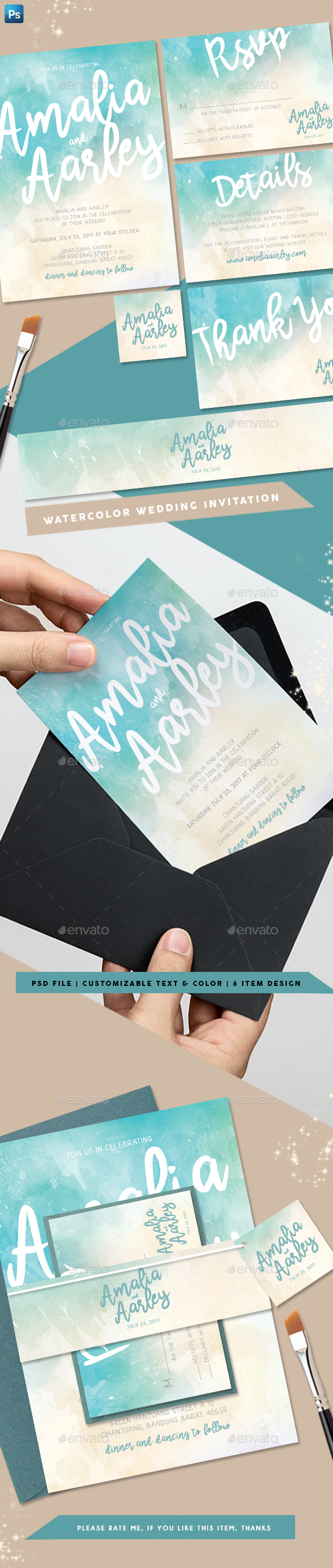 Watercolor Wedding Invitation - Weddings Cards & Invites