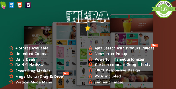 Hera - Shopping Cosmetic, Food Responsive Prestashop Theme