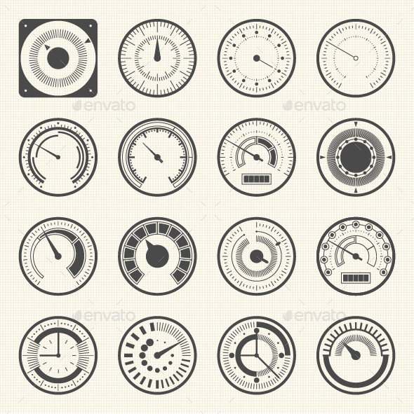 Collection of Round Gauges - Icons