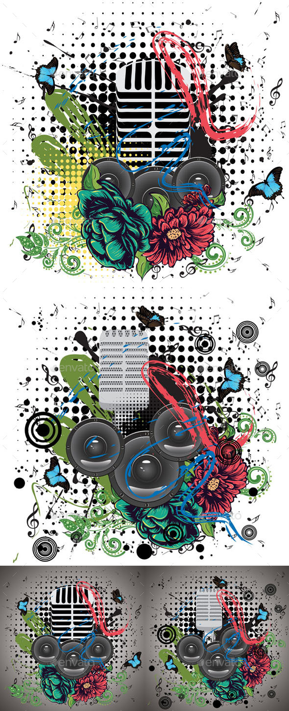 Grunge Speaker and Microphone - Backgrounds Decorative
