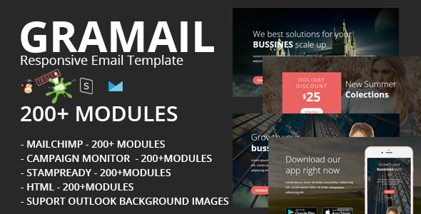 ThemeForest GRAMAIL Responsive Email Template 200& Modules & Stampready Builder 20318390