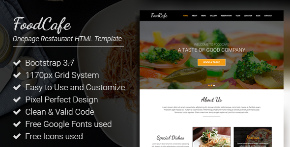 FoodCafe - Onepage Restaurant Responsive HTML Template