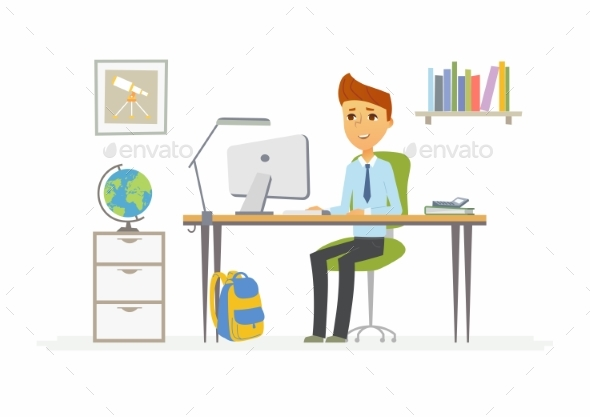Online Education - Illustration of Student - People Characters