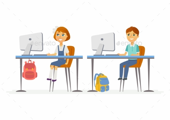 GraphicRiver Computer Studies Junior School Children 20427206