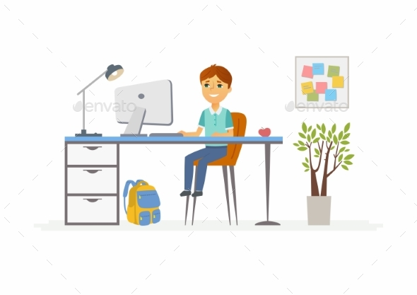 Online Education - Illustration of School Boy - People Characters