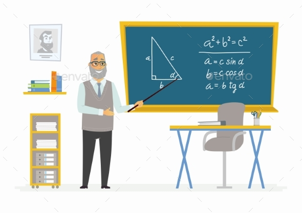 Geometry Classroom - Male Teacher Composition - People Characters