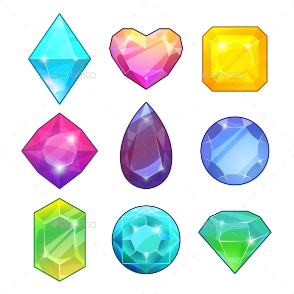 Different Gemstones - Decorative Symbols Decorative