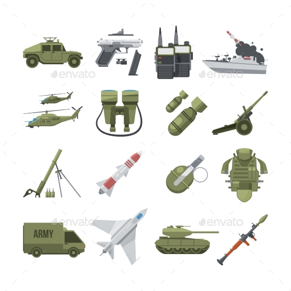 Icon Set of Different Army Weapons - Man-made Objects Objects
