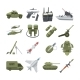 Icon Set of Different Army Weapons