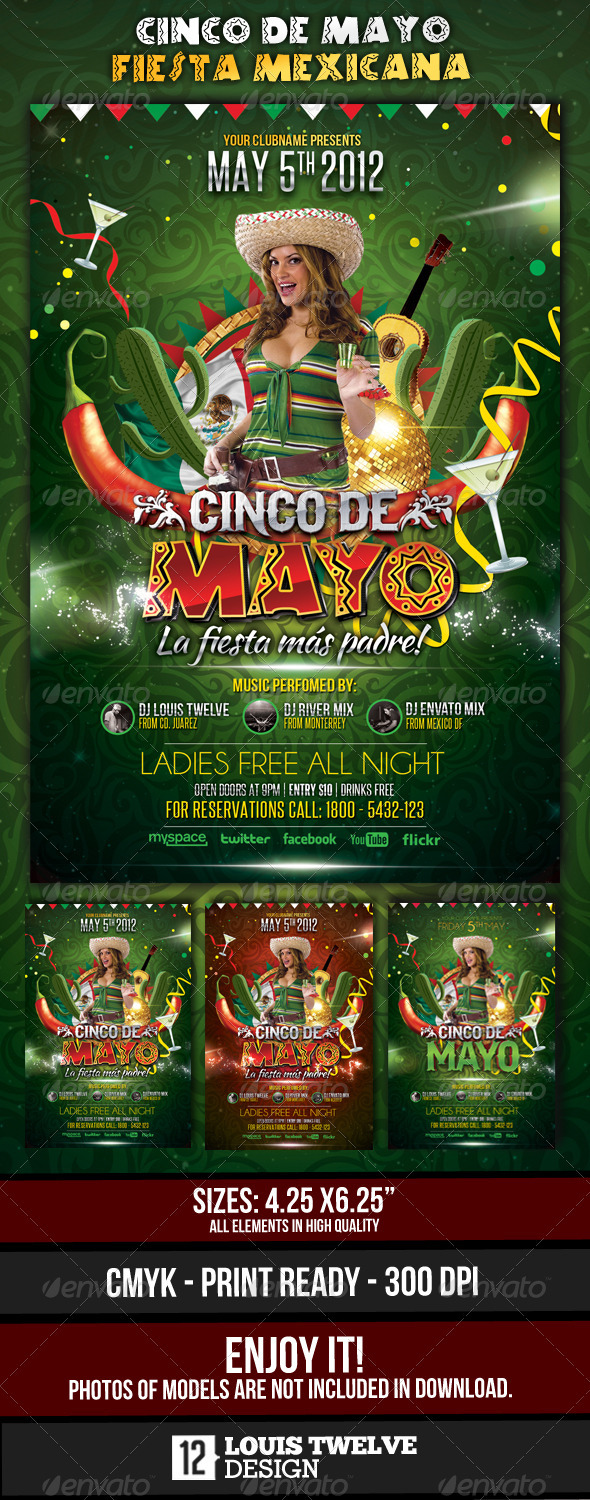 Cinco de Mayo Party - Flyer Template - Clubs & Parties Events