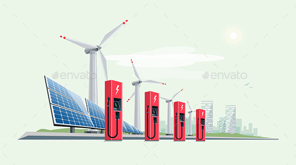 Charging Station for Electric Car with Solar Panels and Wind Turbines - Miscellaneous Conceptual