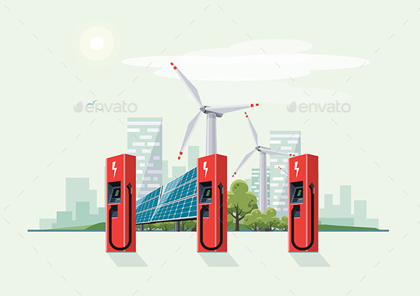 GraphicRiver Charging Station for Electric Car with Solar Panels and Wind Turbines 20427836