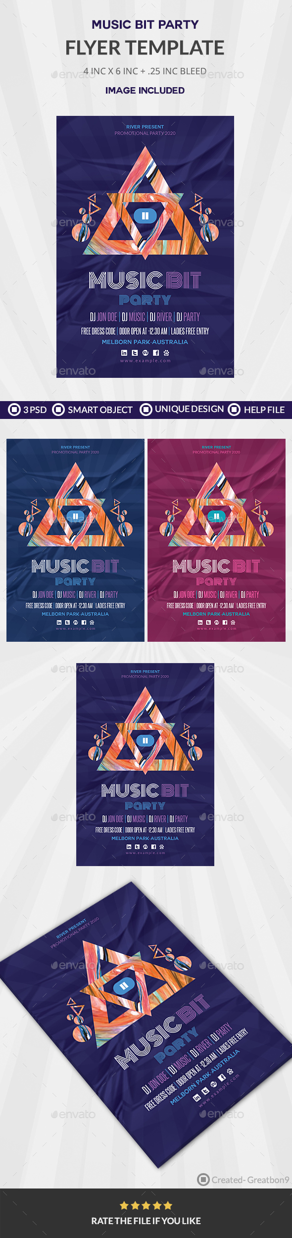 Minimal Music Bit Party Flyer - Clubs & Parties Events