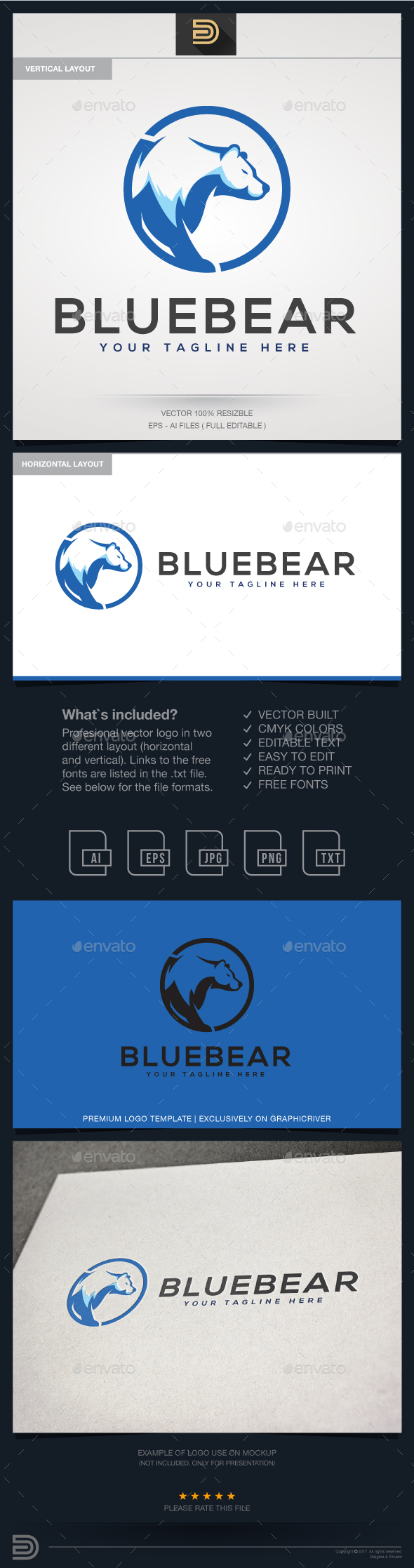 Blue Bear Logo Template - Animals Logo Templates