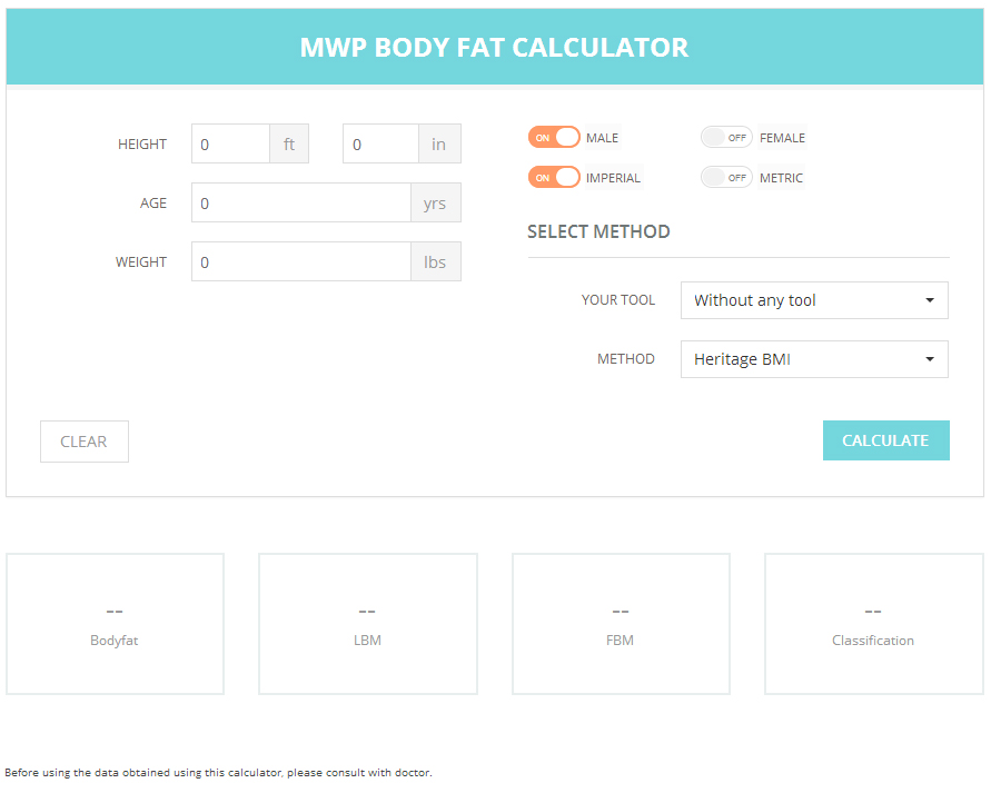 MWP Wordpress Body Fat Calculator by zuk22 – Body Fat Percentage Chart Template