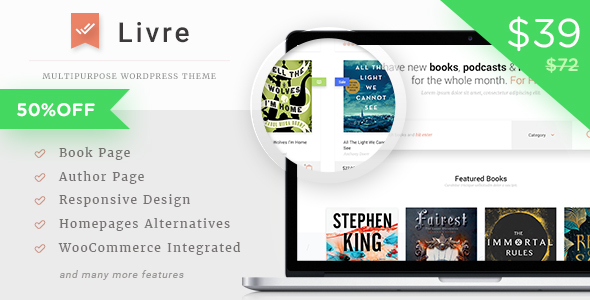 ThemeForest Livre WooCommerce Theme For Book Store 20205946