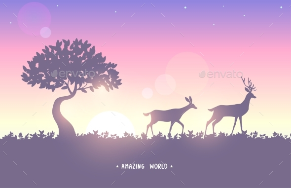 Nature Deer Sunset - Animals Characters