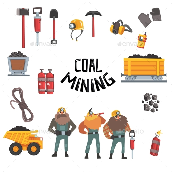 GraphicRiver Coal Mining Industry Set 20428557