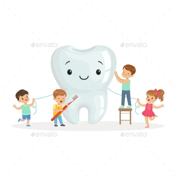 Happy Kids Cleaning a Big Tooth with a Brush and Floss - Health/Medicine Conceptual