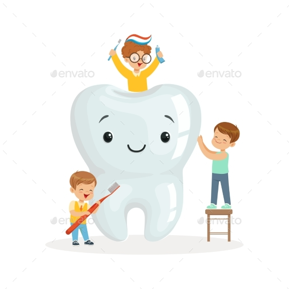 Kids Brushing a Big Tooth with a Brush - Health/Medicine Conceptual